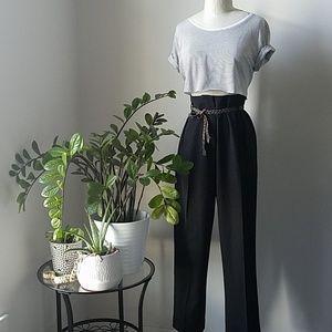 Highwaisted Black Cuffed Trousers